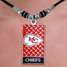 "W20980N - KANSAS CITY CHIEFS  DIAMOND SHIELD ""GRIDIRON"" DOG TAG  PENDANT ON BLACK CORD NECKLACE"