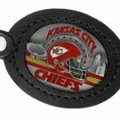 SWW19670KC - KANSAS CITY CHIEFS  GENUINE BLACK LEATHER FRAMED KEY CHAIN