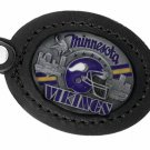SWW19679KC - MINNESOTA VIKINGS  GENUINE BLACK LEATHER FRAMED KEY CHAIN