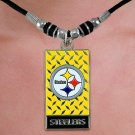 "SWW20984N - PITTSBURGH STEELERS  DIAMOND SHIELD ""GRIDIRON"" DOG TAG  PENDANT ON BLACK CORD NECKLACE"