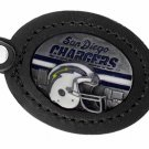 SWW19669KC - SAN DIEGO CHARGERS  GENUINE BLACK LEATHER FRAMED KEY CHAIN