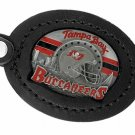SWW19668KC - TAMPA BAY BUCCANEERS  GENUINE BLACK LEATHER FRAMED KEY CHAIN