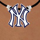 SWW14817N - NEW YORK YANKEES BLACK CORD LOGO NECKLACE