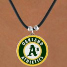 SWW14825N - OAKLAND ATHLETICS BLACK CORD LOGO NECKLACE
