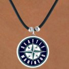 SWW14823N - SEATTLE MARINERS BLACK CORD LOGO NECKLACE