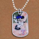 SWW21016N - TEXAS RANGERS MLB TEAM WITH  MICKEY MOUSE ON DOG TAG PENDANT