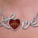 "SWW20672N - POLISHED SILVER TONE SCRIPT  ""LOVE"" IOWA STATE UNIVERSITY PENDANT NECKLACE"