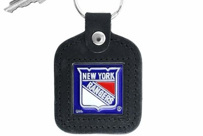 SWW15976KC - NEW YORK RANGERS GENUINE BLACK LEATHER FRAMED KEY CHAIN