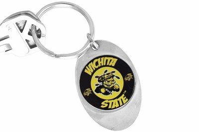 sww14312kc licensed wichita state university shockers logo key chain. Black Bedroom Furniture Sets. Home Design Ideas