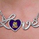 "SWW20660N - POLISHED SILVER TONE SCRIPT ""LOVE""  LOUISIANA STATE UNIVERSITY TIGERS PENDANT"
