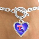 SWW12991B - LICENSED LOUISIANA TECH UNIVERSITY BULLDOGS HEART WITH LOGO BRACELET