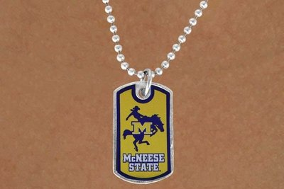 "SWW16945N - LICENSED MCNEESE STATE UNIVERSITY ""COWBOYS"" DOG TAG LOGO NECKLACE"