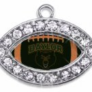 SWW1464SC -  CRYSTAL  MINI-FOOTBALL SHAPED CHARMS WITH  THE BAYLOR UNIVERSITY BEARS LOGO