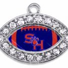 SWW1452SC -  CRYSTAL  MINI-FOOTBALL SHAPED CHARMS WITH  THE SAM HOUSTON UNIVERSITY LOGO