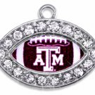 SWW1465SC - CRYSTAL  MINI-FOOTBALL SHAPED CHARMS WITH  THE TEXAS A&M UNIVERSITY LOGO