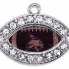 SWW1453SC - CRYSTAL  MINI-FOOTBALL SHAPED CHARMS WITH  TEXAS STATE UNIVERSITY BOBCATS LOGO