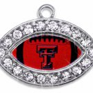 SWW1456SC - CRYSTAL  MINI-FOOTBALL SHAPED CHARMS WITH  THE TEXAS TECH UNIVERSITY LOGO