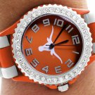 "SWW20387WT - UT ""LONGHORNS"" ORANGE AND WHITE STRIPED  SILICONE RUBBER & AUSTRIAN CRYSTAL  WATCH"