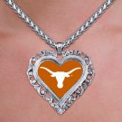 "SWW20314N - UNIVERSITY OF TEXAS  ""LONGHORNS"" SILVER TONE HEART  NECKLACE"