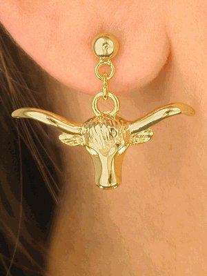 SWW4346E-NEW! GOLD FINISH LONGHORN EARRINGS