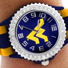 "SWW20379WT - WVU ""WV"" LOGO NAVY AND YELLOW STRIPED  SILICONE RUBBER & AUSTRIAN CRYSTAL  WATCH"