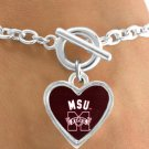 SWW12942B - LICENSED MISSISSIPPI STATE UNIVERSITY BULLDOGS HEART WITH LOGO BRACELET
