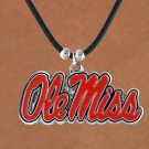 "SWW15769N - UNIVERSITY OF MISSISSIPPI ""REBELS"" BLACK CORD NECKLACE"