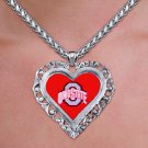 """SWW20644N - OHIO STATE UNIVERSITY  """"A"""" ANTIQUED SILVER TONE HEART  NECKLACE"""
