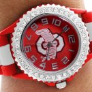 SWW20389WT - OSU UNIVERSITY RED AND WHITE STRIPED SILICONE RUBBER & AUSTRIAN CRYSTAL  WATCH