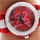 "SWW20385WT - ""HUSKERS"" RED AND WHITE STRIPED SILICONE RUBBER & AUSTRIAN CRYSTAL  WATCH"