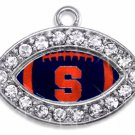 "SWW1444SC - CRYSTAL  MINI-FOOTBALL SHAPED CHARMS WITH  THE SYRACUSE UNIVERSITY ""S"" LOGO"