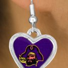 "SWW13730E - LICENSED EAST CAROLINA UNIVERSITY ""PIRATES"" MASCOT HEART EARRINGS"