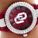 "SWW20381WT -  ""OU"" LOGO MAROON AND WHITE STRIPED  SILICONE RUBBER & AUSTRIAN CRYSTAL  WATCH"
