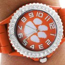 SWW19351WT - CLEMSON UNIVERSITY TIGERS  ORANGE SILICONE RUBBER AND  AUSTRIAN CRYSTAL WATCH