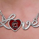 "SWW20678N - POLISHED SILVER TONE SCRIPT  ""LOVE"" UNIVERSITY OF SOUTH CAROLINA PENDANT  NECKLACE"