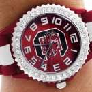 "SWW20390WT -  ""C""LOGO MAROON AND WHITE STRIPED  SILICONE RUBBER & AUSTRIAN CRYSTAL  WATCH"