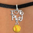 "SWW20742B - BEAUTIFUL SILVER TONE  ""I LOVE TO PLAY"" & MINI SOFTBALL CHARM  BRACELET"