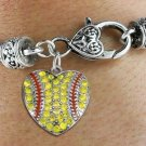 SWW1519SB4 - ANTIQUED SILVER TONE AND YELLOW CRYSTAL CHARM ON HEART LOBSTER CLASP BRACELET