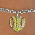 SWW1519SB - SILVER TONE AND YELLOW  CRYSTAL SOFTBALL HEART CHARM AND  BRACELET
