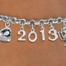 SWW20461B - SILVER TONE LOBSTER CLASP  GLOVE WITH BALL, #1 TROPHY AND CUSTOM YEAR  BRACELET
