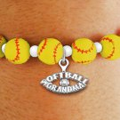 "SWW19932B - YELLOW STRETCH SOFTBALL CHARM BRACELET WITH A ""SOFTBALL GRANDMA"" SILVER TONE CHARM"