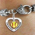 "SWW19911B - ""FRIENDS FOREVER"" HEART  WITH SOFTBALL MINI-CHARM ON  HEART LOBSTER CLASP BRACELET"