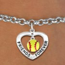 "SWW19912B - ""FRIENDS FOREVER""HEART  WITH SOFTBALL CHARM BRACELET"