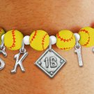 SWW19763B - YELLOW STRETCH SOFTBALL CHARM BRACELET WITH YOUR  POSITION, TEAM NUMBER AND INITIALS