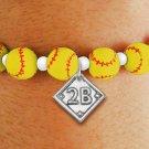 SWW19765B - YELLOW SOFTBALL  THEMED CHARM BRACELET WITH YOUR  TEAM POSITION ON BALL DIAMOND
