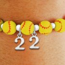 SWW19767B - YELLOW STRETCH SOFTBALL THEMED CHARM BRACELET WITH YOUR  PERSONAL TEAM NUMBER ADDED