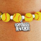 "SWW19770B - YELLOW SOFTBALL  THEMED CHARM BRACELET WITH A ""SOFTBALL ROCKS!"" SILVER TONE CHARM"