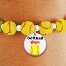 "SWW19772B - YELLOW SOFTBALL  THEMED CHARM BRACELET WITH A  BRIGHT ""SOFTBALL MOM"" DISK CHARM"