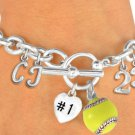 SWW19420B - SILVER TONE SOFTBALL  THEMED CHARM BRACELET WITH  YOUR TEAM NUMBER AND INITIALS