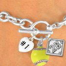 "SWW19362B - ""#1"" HEART, YELLOW SOFTBALL &  PLAYERS POSITION ON DIAMOND  3 CHARMS AND TOGGLE BRACELET"
